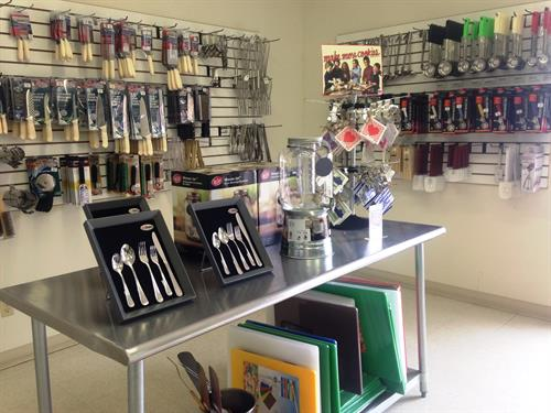 We have a large collection of smallwares, including spatulas, knives, spoons, and much more.