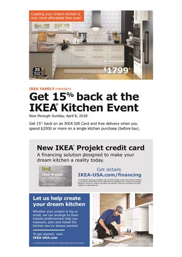 ikea kitchen event new projekt credit card offer feb 28 2018 to apr 8 2018 miami dade. Black Bedroom Furniture Sets. Home Design Ideas