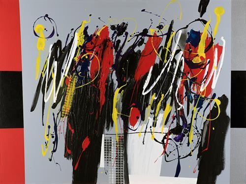 Jose Paez del Nogal - Black-Silver, 2015 - Acrylic on canvas - 36 x 48 in.