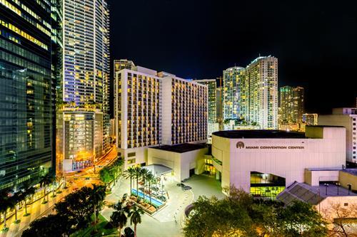 Hyatt Regency Miami - outside at nighttime