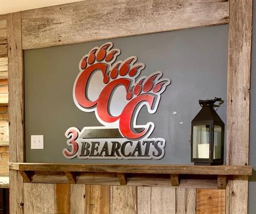 Custom 3 Bearcats Sign