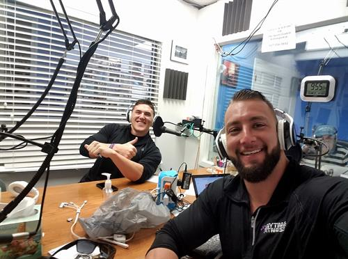 Drew and Hawken at the Wilmington Radio station