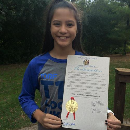 "Lili has type 1 diabetes (T1D) and helped make November ""Type 1 Diabetes Awareness Month"" throughout Wisconsin!"