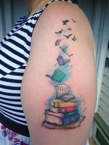 Book tattoo by Beth