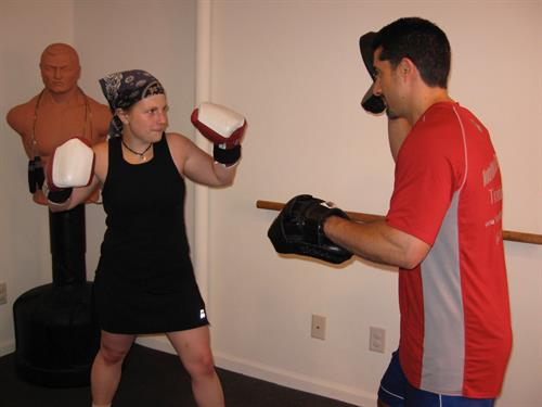 focus mitt boxing with Jaci