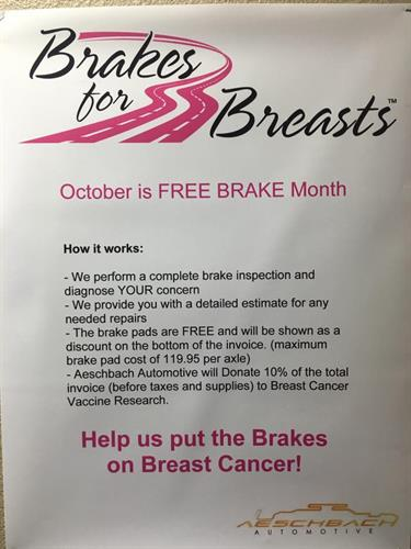 "In October we participate in the program ""Brakes for Breasts"" Supporting Breast Cancer awareness and research!"