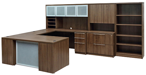 Modern Walnut Executive U Shape Desk
