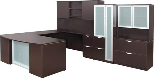 Executive U Shape Desk with Glass Panel Accents