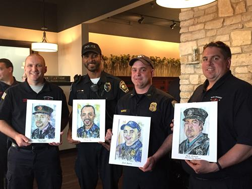 Proud first responders gifted with expressive portrait keepsake at community award ceremony.