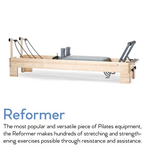 The reformer is our main Pilates apparatus that consists of a sliding carriage equipped with springs, bars and straps. You can lie, kneel, stand and sit through various exercises to create a balanced body and strong core.