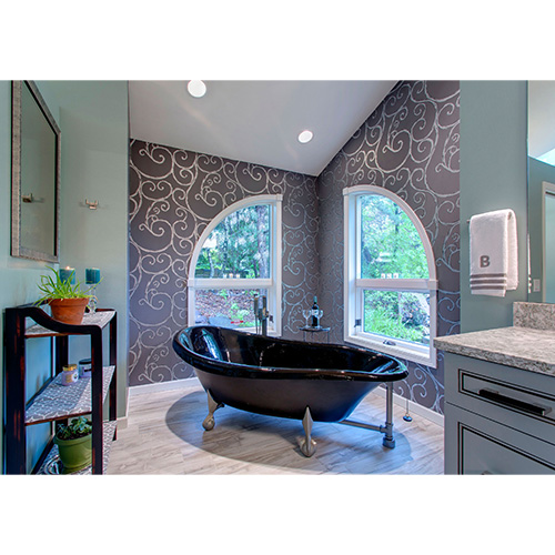 Interior of remodeled bathroom