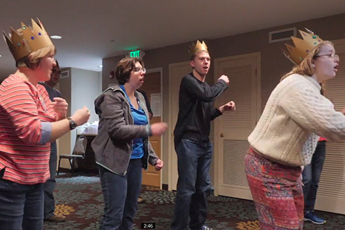 Singing and dancing during an Inspiring Hope Workshop.
