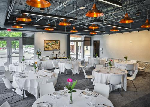 Lodgic Event Hall set for plated dinner service