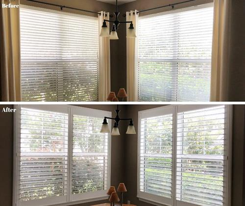 "Before: 2"" faux wood blinds. After: 3.5"" louver plantation shutters."