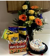 Cake, Flowers, and Snacks