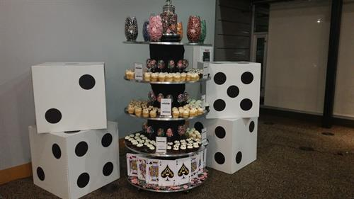 Large dice and cupcake display