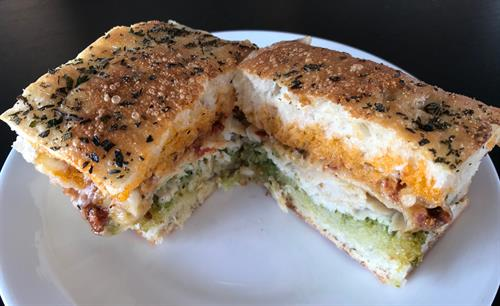 Turkey Pesto on Focaccia Bread Sandwich