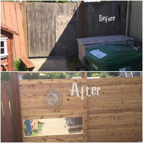 Rolling gate before/after