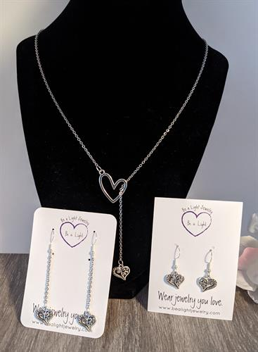 Earrings and lariat necklace