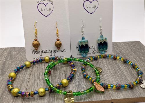Drop earrings, wrap bracelets