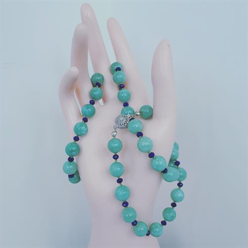 AAA Burma Jade interlace withLapis on individual knot with stering silver clasp
