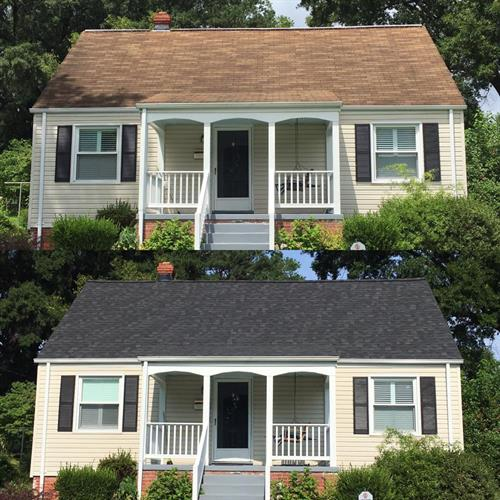 Before and after -shingle roof installation
