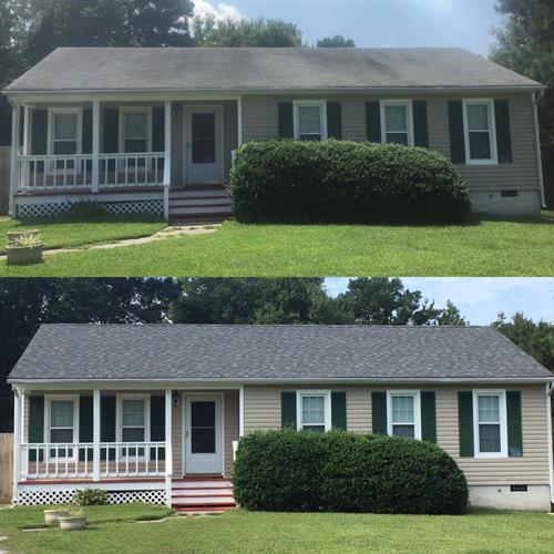 Before and after- Architectural Shingle Roof System