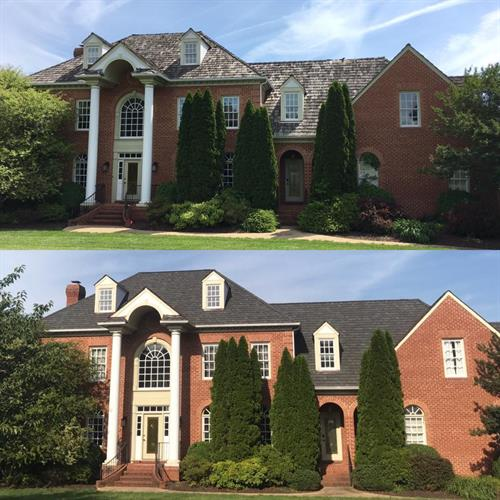 Before and After -Cedar Shake Tear off - CertainTeed Grand Manor Installation