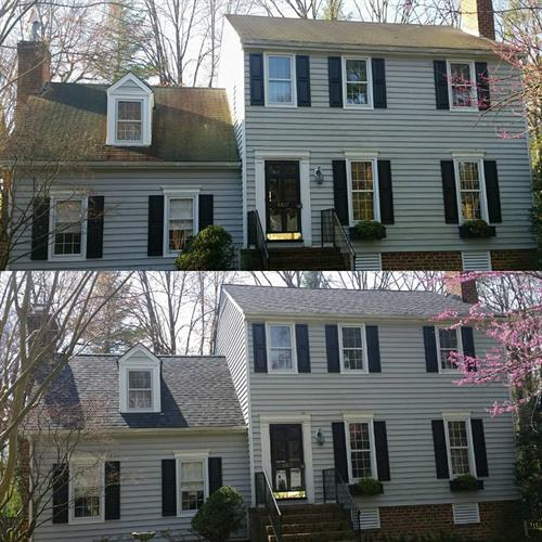 Before and after -Architectural Shingle Roof System