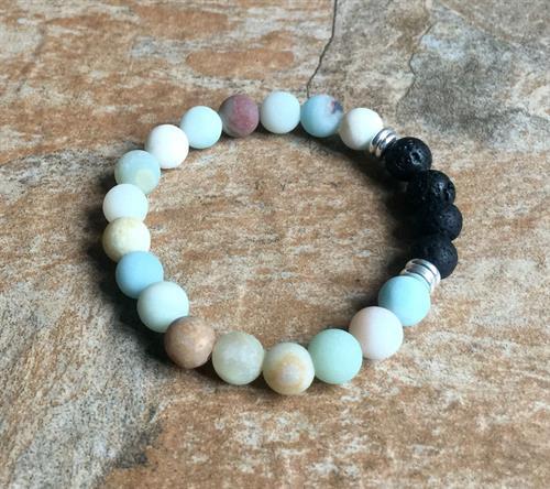 Frosted Amazonite Aromatherapy Bracelet https://www.dobeaddoobydoo.com/product/frosted-amazonite-aromatherapy-bracelet/