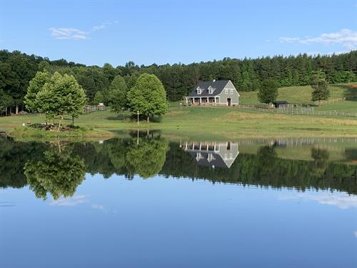 Our barn reflected in the lake.