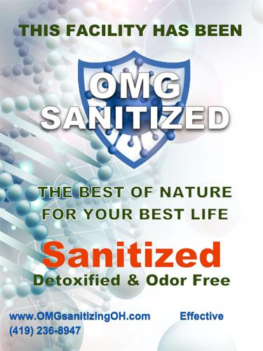 """OMG SANITIZED"" window/door hanger"