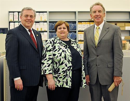 Chief Justice John Minton; Linda Avery, Calloway Circuit Court Clerk; Justice Bill Cunningham