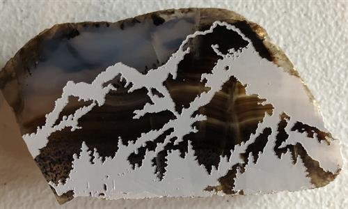 Mountains on agate