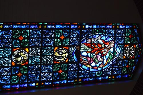 Stained glass windows are a striking feature of our sanctuary