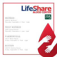Life Share Blood Drive - Monroe & West Monroe FNB