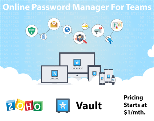 Zoho Vault Password Management: Manage your organizations passwords.