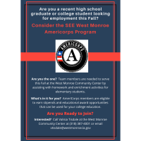 Applications sought for SEE West Monroe Americorps Fall Team
