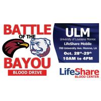 ULM Battle of the Bayou Blood Drive set for Oct. 28-29