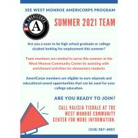 Applications sought for SEE West Monroe AmeriCorps Summer Team 2021