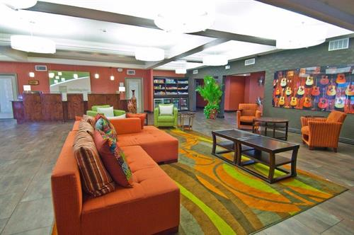 Holiday Inn & Suites Lobby is open and welcoming