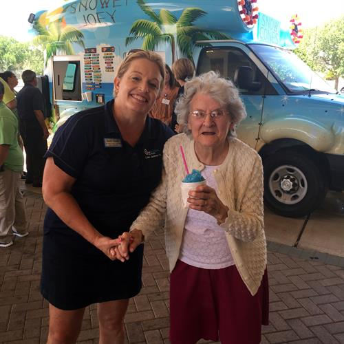 One of Carriage Inns' beautiful residents enjoying her first ever snowcone