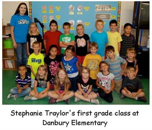 Ms. Traylor's first grade class at Danbury Elementary-Mary Ruth Rhodenbaugh was the Classroom Volunteer
