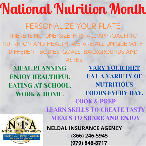 Tips from Neldal Insurance for National Nutrition Month!