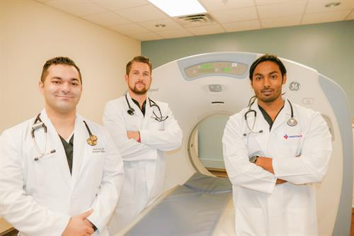 Our Angleton ER doctors (left to right): Dr Moath Amro, Dr Keegan Massey, Dr Abdulla Kudrath