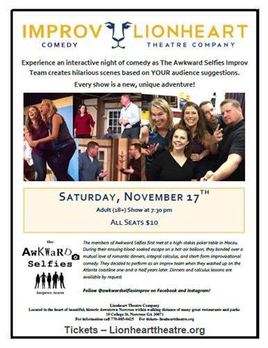 Awkward Selfies Improv at Lionheart Theatre on November 17
