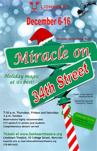 Miracle on 34th Street plays December 6-16 at Lionheart Theatre Company