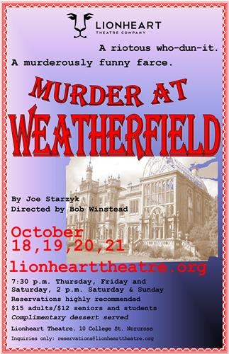 Murder at Weatherfield plays October 18-21 at Lionheart Theatre Company