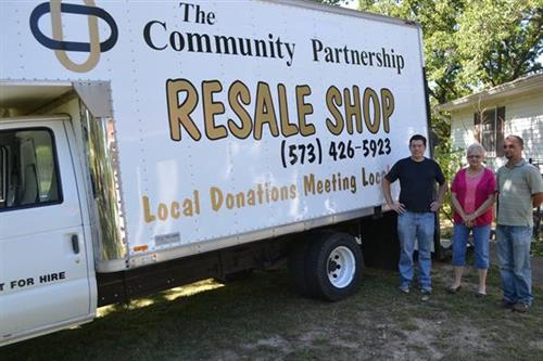 The Community Partnership Resale Shop offers pick-up service for large donations. Call 573-426-5923