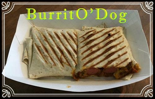 The BurritO'Dog~ TWO all beef dogs topped with chili, cheese, and Fritos...  then wrapped in a flour tortilla and grilled on the panini press!